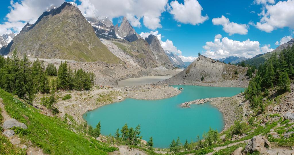 Lago Miage e ghiacciaio in Val Veny